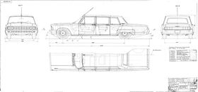 General view drawing of car ZIL-114